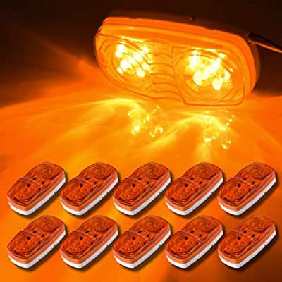 Partszone 10Pcs Amber Side Marker Lights Double Bullseye 10 LED Trailer Clearance Light Bulls Tiger Eye for Truck RV Boat Camper Trailers: Automotive