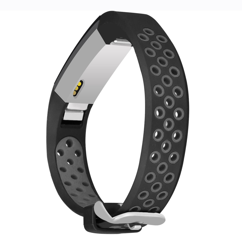 jobese for Fitbit ALTAアルタ/ HRバンド、ツートンカラーソフト通気性バンドfor Fitbit ALTAアルタand HRシリコンアクセサリー交換用Wristbandsレディースメンズ B07BMKJBHB Black/ Gray Small