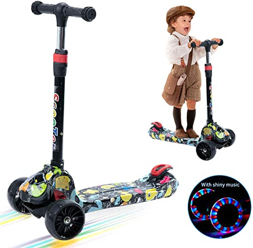 Kick Scooter for Toddlers with 3 LED Flashing Wheels,4 Adjustable Handlebar and All-Covered Brake Great for Toddlers from 3 to 8 Year-Old,Musical Graffiti scooter,Kids Gift for Birthday and Holiday