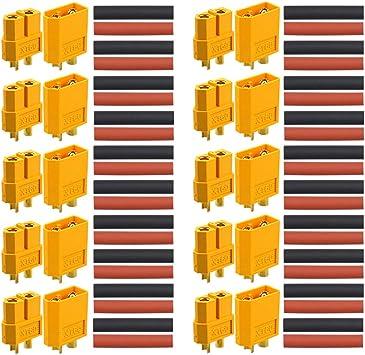 Qitindasen 10 Paare Premium Xt 60 Männlich Weiblich Batterie Anschlüsse Hochstrom Goldstecker Goldkontaktstecker Rundstecker Stecker Buchse Mit Schrumpfschlauch Baumarkt