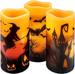 Halloween Flickering Flameless Candles - Battery Operated LED Real Wax Candles with 6 Hours Timer - Bats, Castle, Witch LED Flickering Candles for Halloween Christmas Wedding Party Decor, Pack of 3