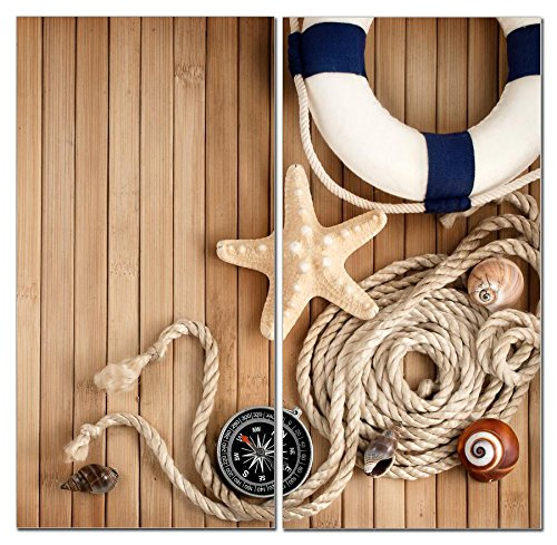 Stunning Views Beautiful Nautical Theme - Multi Panel Split Canvas Wall Art Set - 12 x 24 2 piece (Total size 24 x 24 inch) - Gallery wrapped & framed décor piece– Ready to hang!