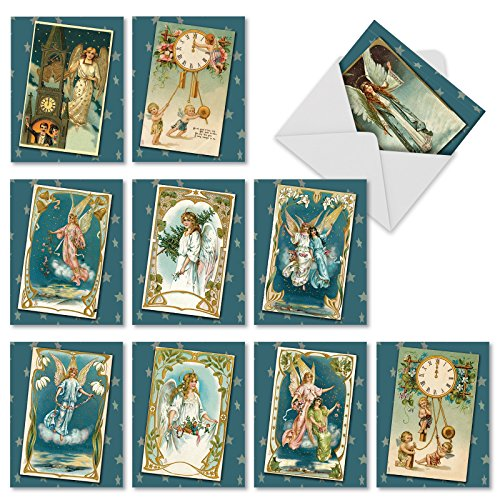 (10 Assorted 'Blue Angels' Blank All Occasion Cards with Envelopes 4 x 5.12 inch, Lovely Heavenly Messengers with Blue Backgrounds and Stars, Vintage-Inspired Angels and Cherubs Cards M1756XB)