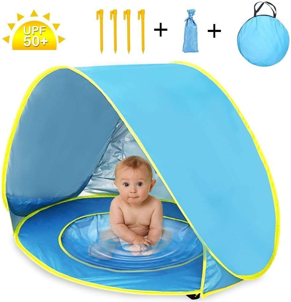 Nice2you Pop up Baby Beach Tent, Baby Tent with Folding Pool, 50+ SPF UV Protection Sun Shelter Perfect for Beach, Yard