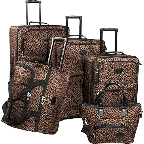 American Flyer Luggage Animal Print 5 Piece Set, Leopard,...
