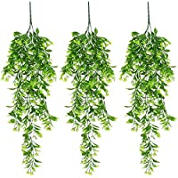 XONOR Artificial Hanging Plant Leaves Orchid Rattan Green Plant Orange Leaf Flowers for Home Garden Wall Decoration…