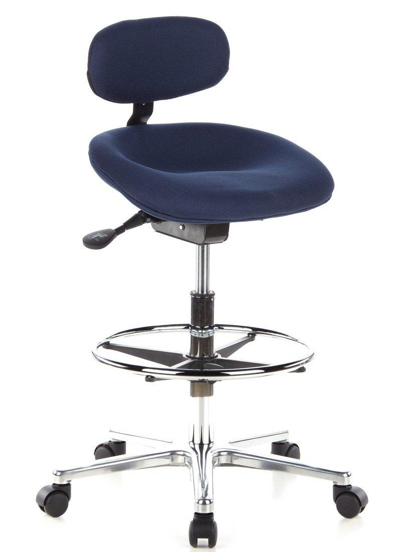 hjh OFFICE 608320 Arbeitsstuhl hoch WORK MF Stoff Grau bequemer Arbeitshocker höhenverstellbar mit Rollen