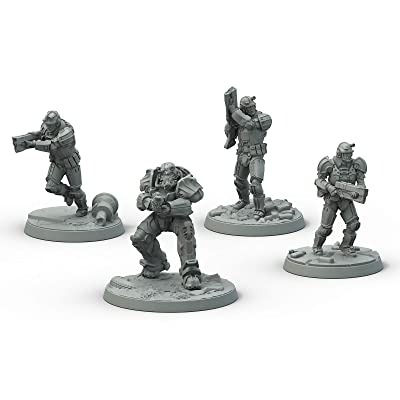 Fallout: Wasteland Warfare Modiphius Entertainment Brotherhood of Steel - Frontline Knights Box Toy, Gray: Toys & Games