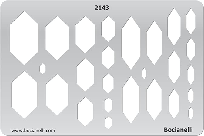 Plastic Stencil Template for Graphical Design Drawing Drafting Jewellery Making - Slim Hexagons Hexagon