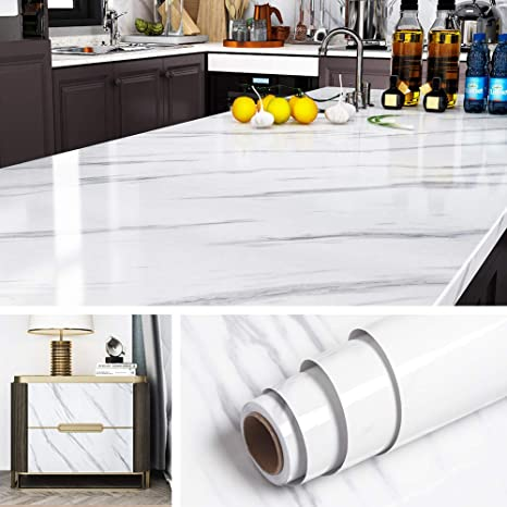 Livelynine Marble Wallpaper Self Adhesive Vinyl Wrap Kitchen Worktop Covering Marble Contact Paper for Kitchen Worktops Kitchen Cupboards Table Cover Bathroom Waterproof Wallpaper Sticky Back 40CMx2M