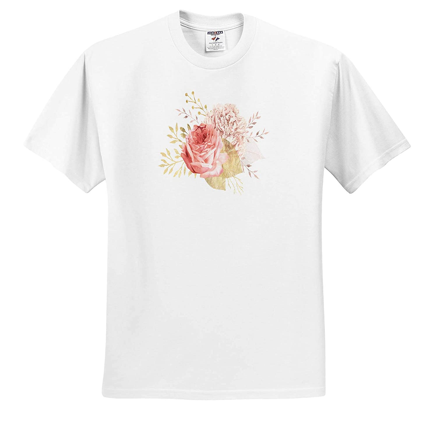 Pretty Pink and Image of Gold Floral Bouquet Illustration ts/_316304 Adult T-Shirt XL Design 3dRose Anne Marie Baugh