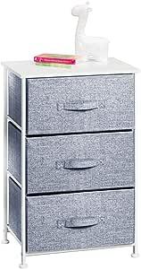 mDesign Vertical Dresser Storage Tower - Sturdy Steel Frame, Wood Top, Easy Pull Fabric Bins - Organizer Unit for Child/Kids Bedroom or Nursery - 3 Drawers - White/Navy Blue (Renewed)