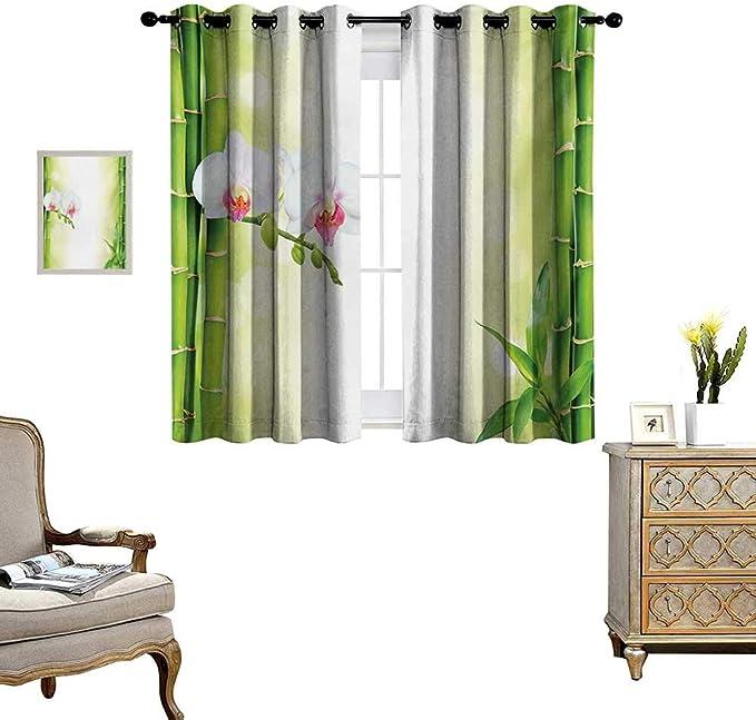 Cortina para ventana de spa, resistente al agua, orquídea, tallos de bambú, piedras de chakra, alternativa japonesa con elementos Feng Shui, cortinas opacas para recámara W55 x L39 manzana verde fucsia: Amazon.es: