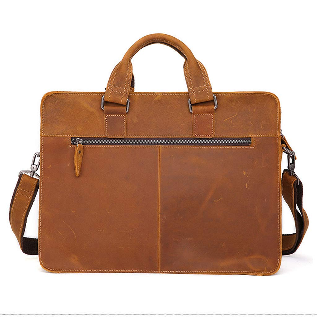Business Multi-Function Shoulder Diagonal Package Color : Brown YYYTS Mens Leather Briefcase