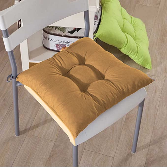 37 cm x 42 cm Booster Seat Pad for Garden Kitchen Dinning Chair Cushion Comfort-Style 100/% Cotton Square Plain Seat Pad Cushion with Ties 1, Latte