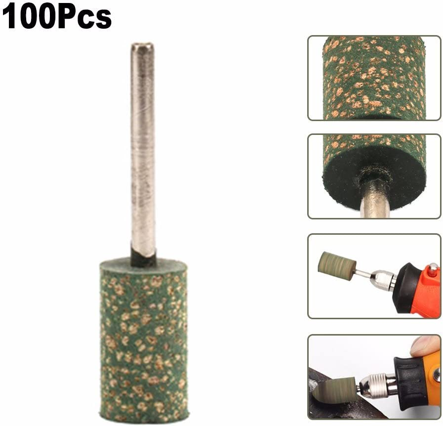 Abrasive Mounted Stones For Dremel Rotary Tools With 1//8 Inch Shank Join Ware 100Pcs 8mm Rubber Cylinder Polishing Grinding Heads