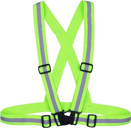 Reflective Belt High Visibility Adjustable Elastic Reflective Safety Belt for Night Running Jogging Biking Walking Cycling Riding