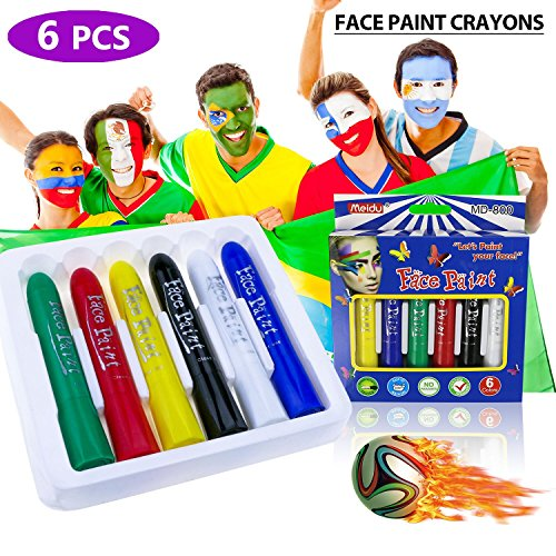 Fixget Face Paint Crayons, 6 Color Face Painting Kits Face Paint Crayon Sticks for Kids Body Painting Sticks for World Cup Non-Toxic Washable Face Paint Painting Crayons Face Painting (Body Gentle Face)