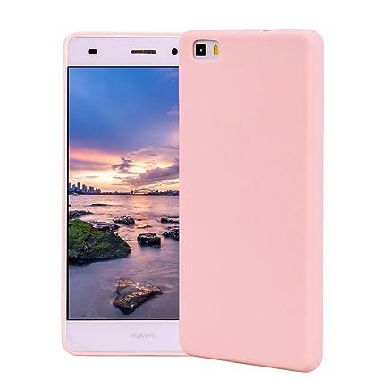 Funda HuaWei P8 Lite, Carcasa HuaWei P8 Lite Silicona Gel, OUJD Mate Case Ultra Delgado TPU Goma Flexible Cover para HuaWei P8 Lite - Rosa