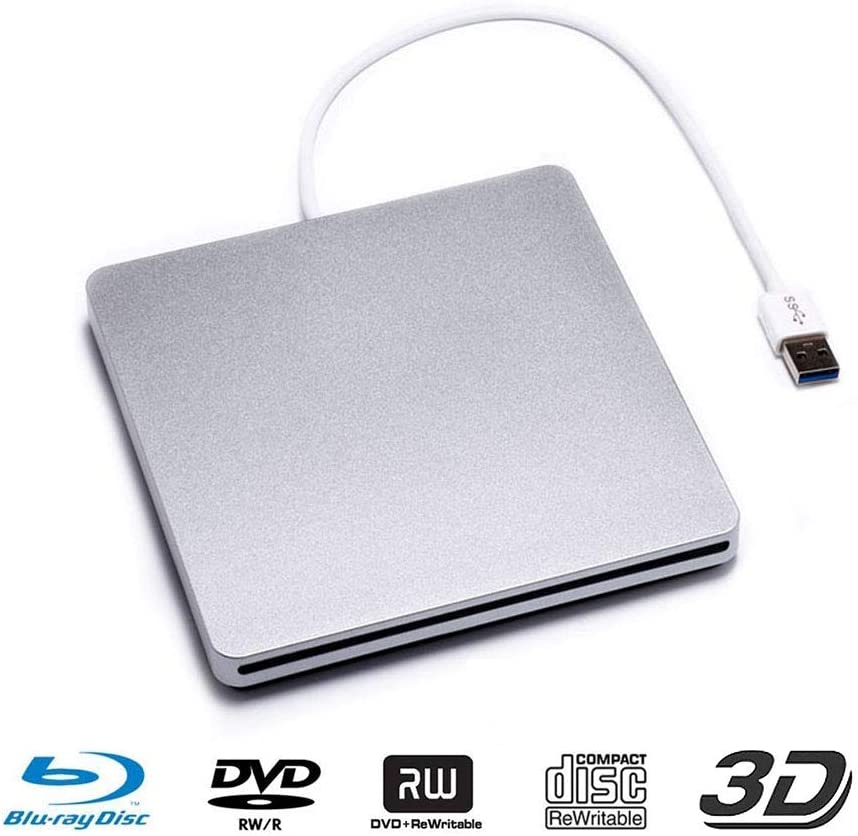 USB 3.0 External Blu-ray DVD Drive Portable CD/DVD-RW Slot-in Reader Burner Player 3D Blu-ray CD SuperDrive for PC Computer Laptop