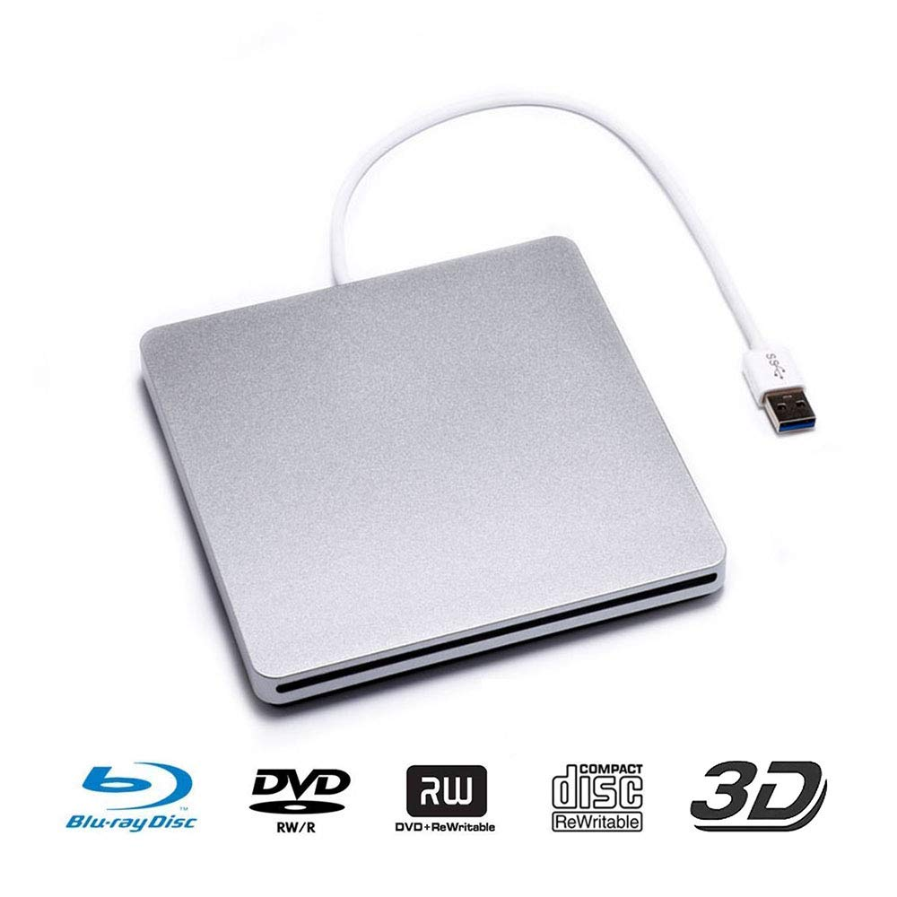 USB 3.0 External Blu-ray DVD Drive Portable CD/DVD-RW Slot-in Reader Burner Player 3D Blu-ray CD SuperDrive for PC Computer Laptop-Silver· (Sliver)