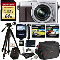 """Panasonic LUMIX LX100 12.8 MP Point and Shoot Camera with Integrated Leica DC Lens Silver + Transcend 64GB + Polaroid 72"""" Tripod + Flash + Battery + Ritz Gear Bag + Polaroid UV & CPL Filter + Extras"""
