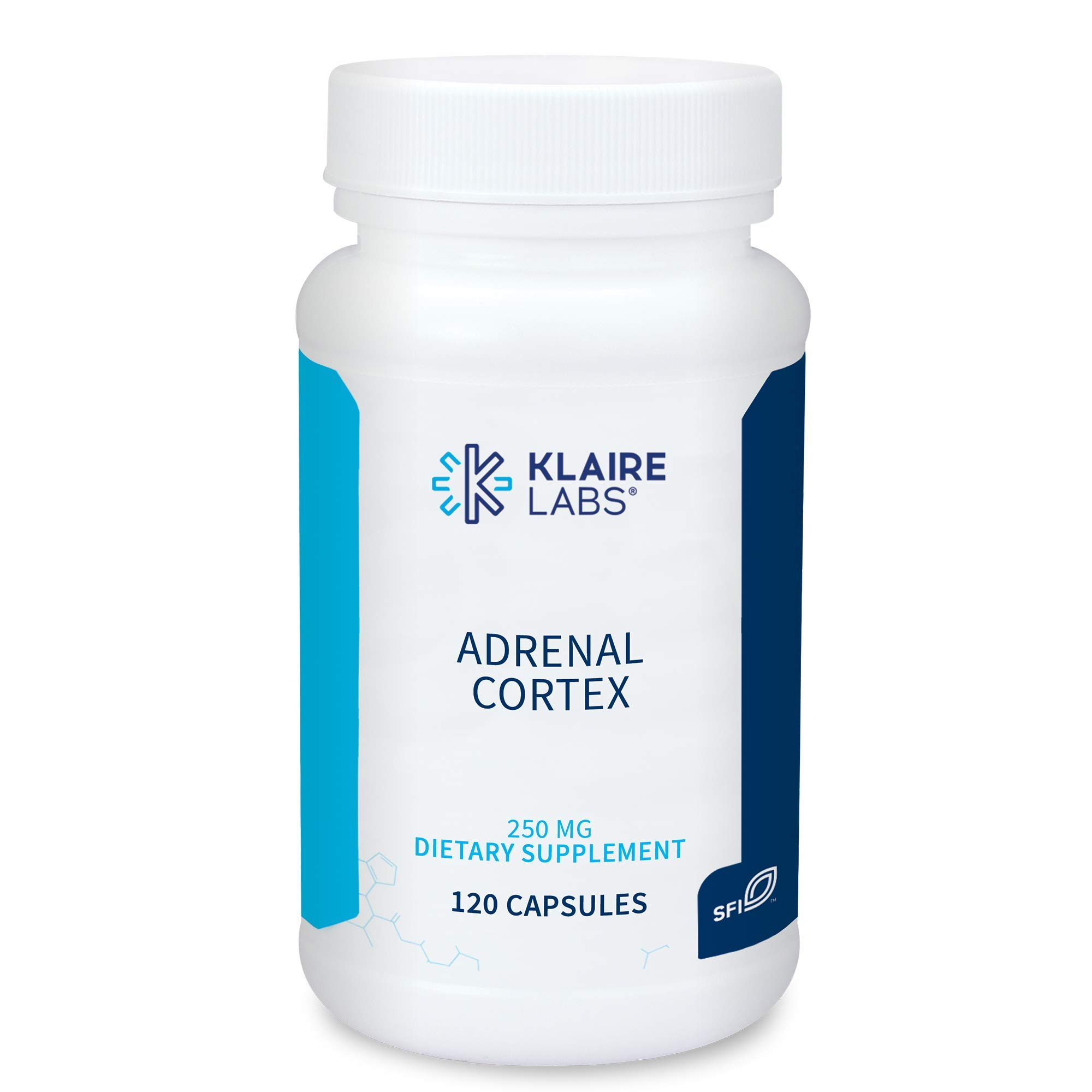 Klaire Labs Adrenal Cortex 250 mg - Adrenal Support Supplements for Cortisol Management Support - Help Support Healthy Adrenal Function for Women & Men - Gluten-Free, Hypoallergenic (120 Capsules)