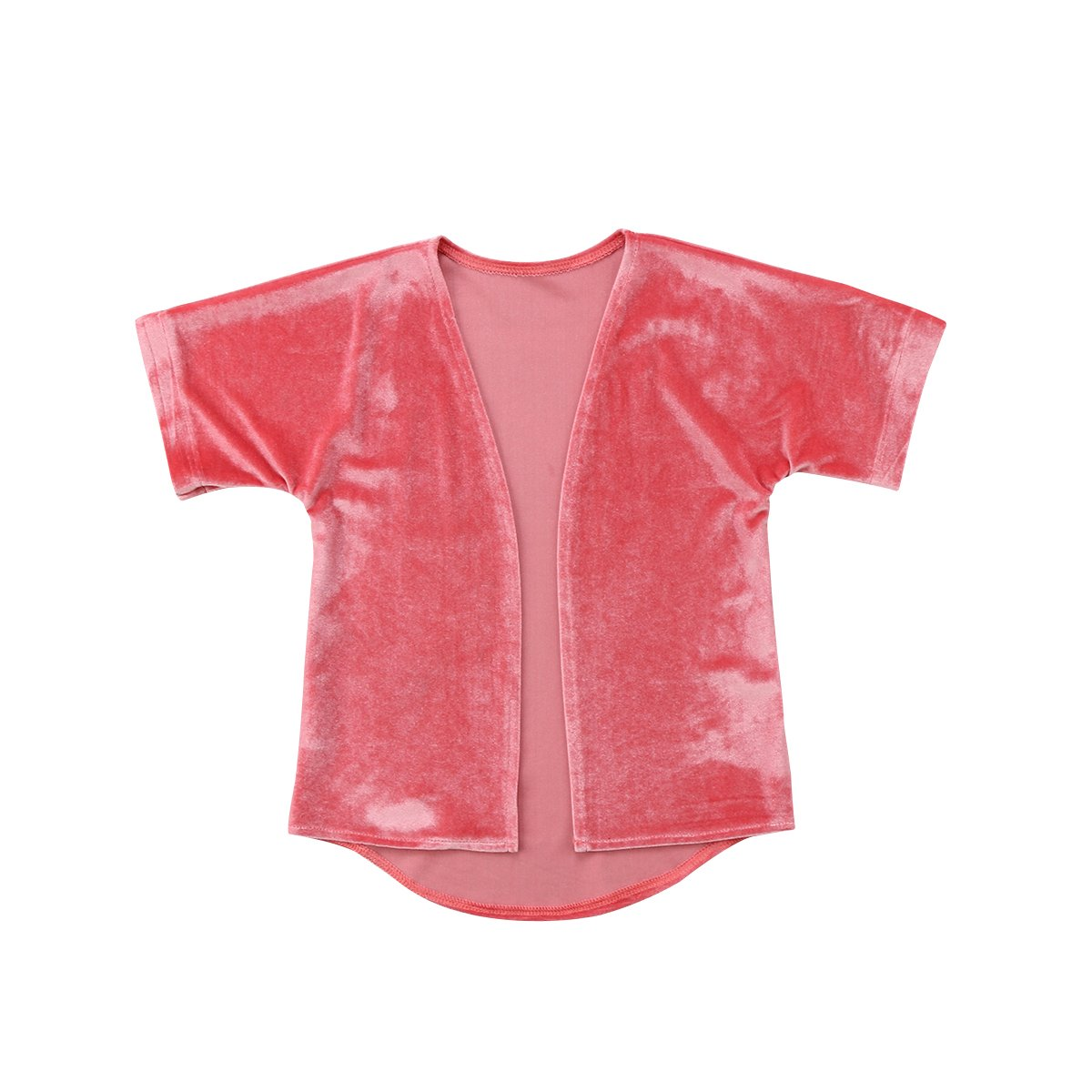 Binwwede Little Girl's Short-Sleeved Jacket Pink Gold Velvet Cardigan unbuttoned Coat (Pink, 90cm)