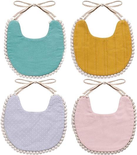 Wipalo Baberos suaves para dentición, baberos para bebés, niños y niñas, diseño de doble cara, 100% algodón orgánico, paquete de 4: Amazon.es: Bebé