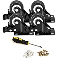 BOSGEOT 2″ Caster Wheels, Heavy Duty Casters with Brake Set of 4, Locking Casters with 360 Degree No Noise Polyurethane (PU) Wheels, Swivel Plate Castors Pack of 4