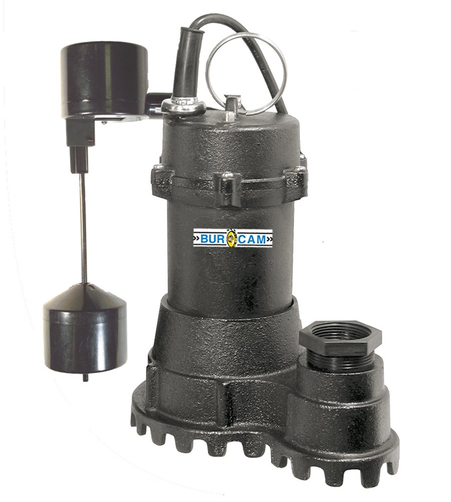 BurCam 300718 Cast Iron Submersible Sump Pump, 1.5'' Discharge with 1.25'' Reducer, 1/2 hp, Vertical Switch, 3000 GPH Max