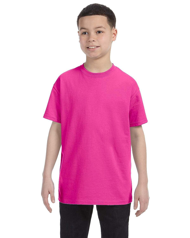 X-Small Jerzees Big Boys Rib Collar Tear Away Label T-Shirt Cyber Pink