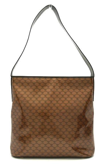 8606eea32f78 [セリーヌ] CELINE マカダム柄 ショルダーバッグ ワンショルダー ビニールコーティング PVC レザー 茶 ブラウン