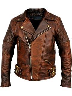 crafat Men Leather Jacket Brown Slim Fit Biker Motorcycle Lamskin Jacket 24