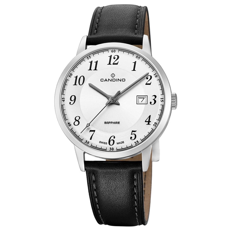 Candino Armbanduhr fÜr Herren Saphir analog Elegant mit Leder-Armband schwarz Quarz-Uhr UC4618-1