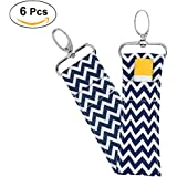 Lipstick Holder Keychain,6Pcs Lip Balm Chapstick Pouch Strap Key Ring Bag,Wave Pattern (Navy Blue)
