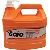 GOJO NATURAL ORANGE Pumice Industrial Hand Cleaner, 1 Gallon Quick Acting Lotion Hand Cleaner with Pumice Pump Bottle…