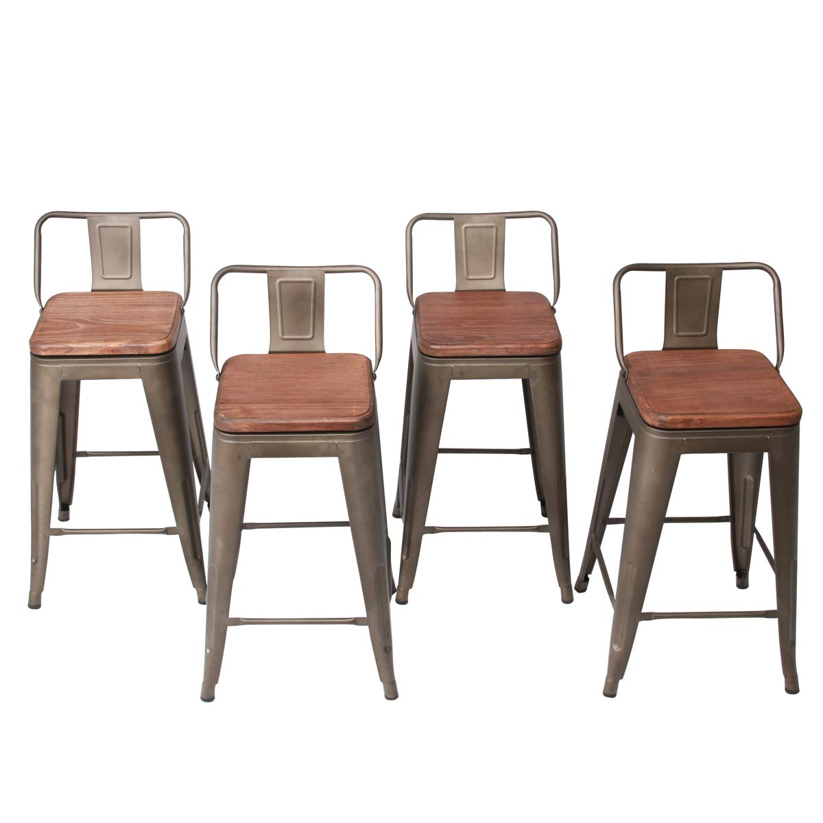 HAOBO Home Modern Industrial Metal Stool [Set of 4] for Indoor/Outdoor Dining Chair (26, Swivel Rusty) by HAOBO Home