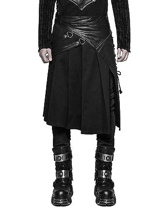 7f406453b3a Punk Rave Mens Dieselpunk Utility Kilt Black Gothic Steampunk Faux Leather  LARP  Amazon.co.uk  Clothing