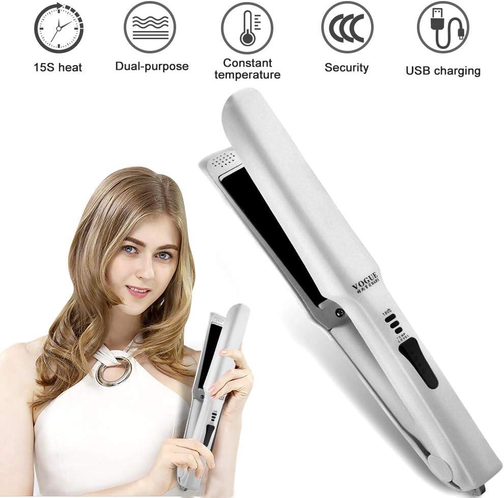 Mini alisador de pelo de viaje inalámbrico – Plancha de cerámica portátil recargable por USB, con temperatura ajustable y apagado automático, apto para todos los tipos de cabello (color blanco).