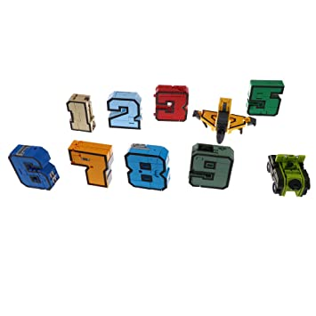 Homyl 10pcs Numbers Transforming Robot Toy for Kids Boys Present 0-9