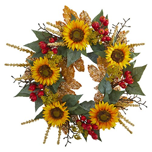 Natural Berry - Nearly Natural 4275 27 in. Sunflower Berry Artificial Wreaths, Assorted