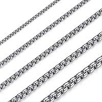 OSTAN 2mm - 5mm Collar de Cadena de Enlace de Cadena de Caja Briolette Cadena Veneciana Negro Acero Inoxidable Link para…