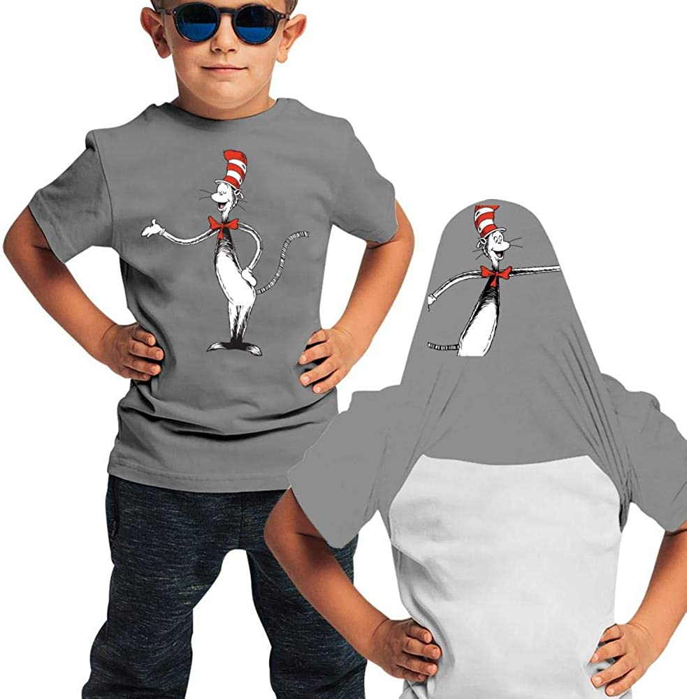 KAWDIS The C-at in The H-at Basic Daily Wear Cotton Graphic Double Sided T Shirts for Girls and Boys