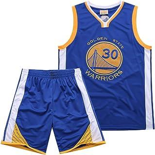 MAZO-Sport Tuta da Basket Warriors Curry 30th Jersey per Adulto Maglia da Basket Ricamata T-Shirt da Basket Assorbente Sudore Estivo, Magliette da Allenamento Pallacanestro Blu