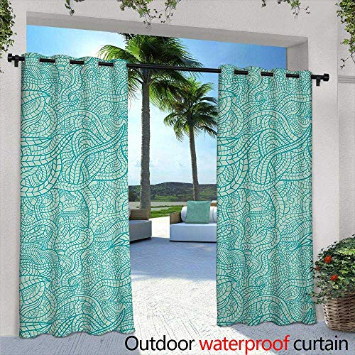 - Tim1Beve Outdoor Blackout Curtain Aqua Vintage Botanic Nature Leaves Veins Swirls Ivy Mosaic Inspired Image Print Curtains for Living Room 96