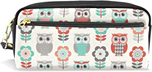 Sunlome Students PU Leather Cute Owls Stationary Pencil Case Pen Bag Pouch Makeup Cosmetic Bag