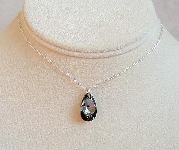 3bd33e40774ed Amazon.com: Beautiful Grey Teardrop Crystal Pendant 18 Inch Sterling ...