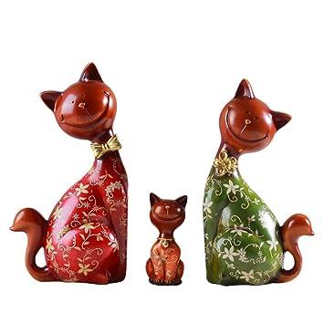 Winpavo Escultura Figuras Estatuas Decoracion Europa Creativo Hogar Tres Gatos Resina Artesanía Joyería Adornos Animales Suerte