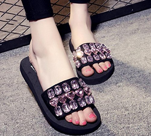 Et Loisirs De Sandales Strass Sandales Plage Été Pinkdiamond élastiques Chaussures Et Taille CHENGXIAOXUAN Femmes Pantoufles De Petite Pantoufles Chaussures De Tongs Pantoufles pour en 5q4wTO
